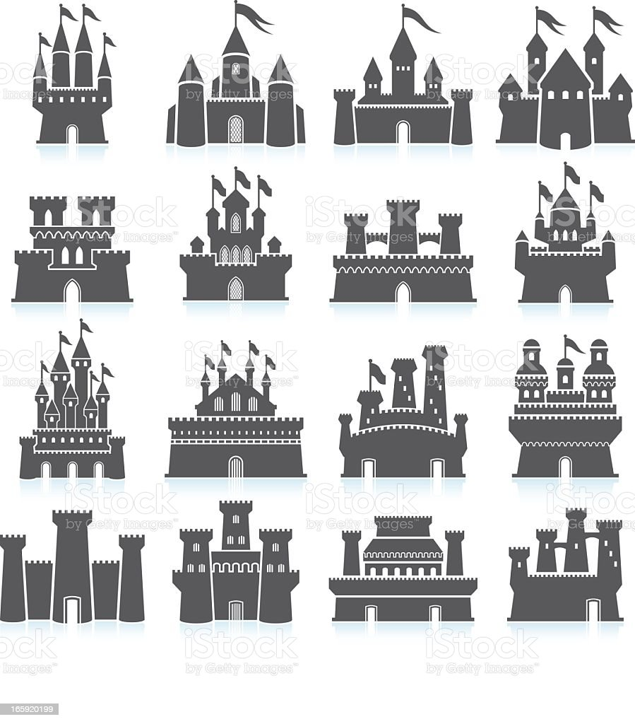 Medieval Castle and fortress royalty free vector icon set vector art illustration