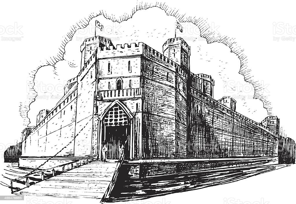 Medieval Castle and Moat vector art illustration