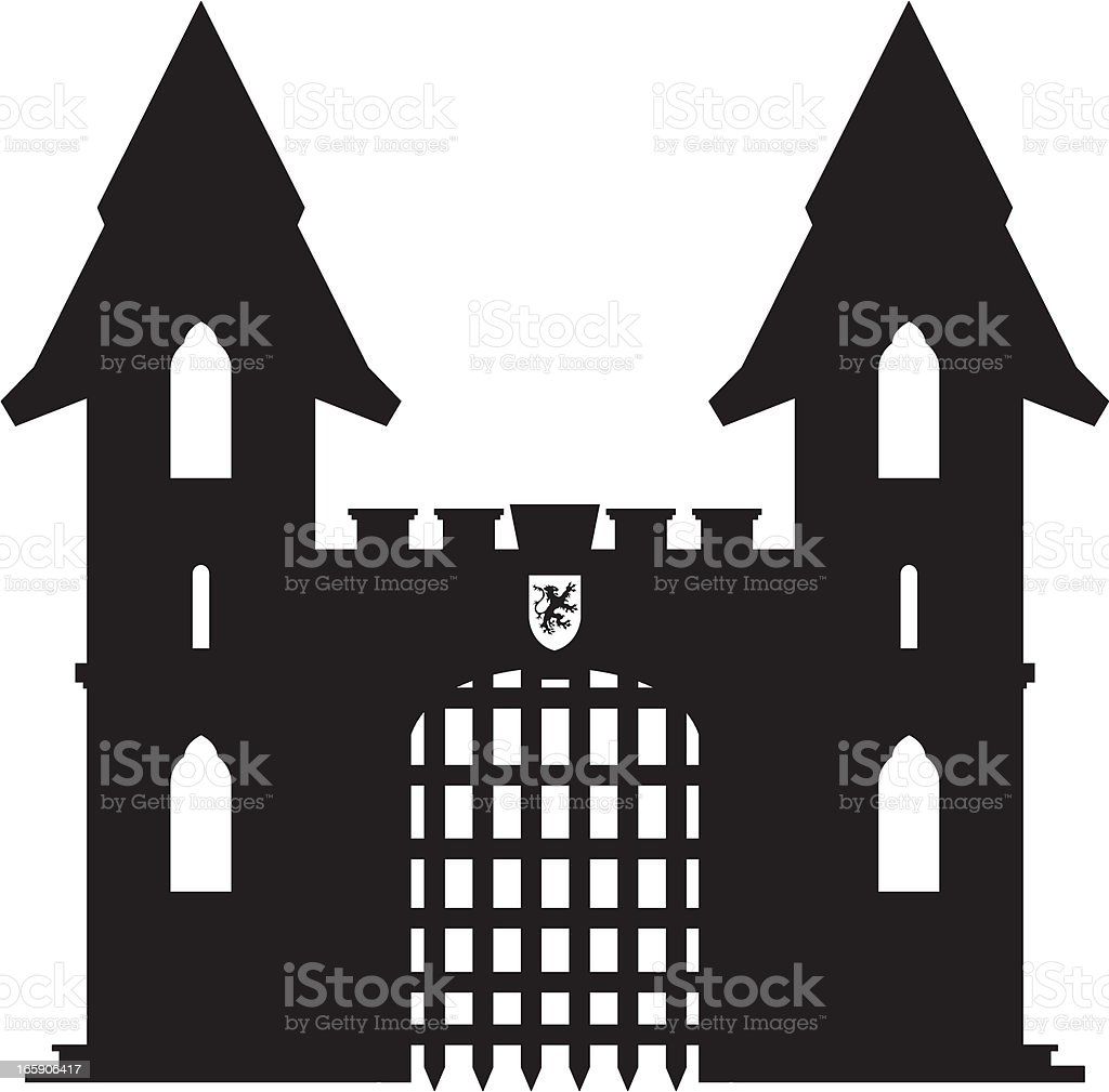 Medieval Castle Silhouette royalty-free stock vector art