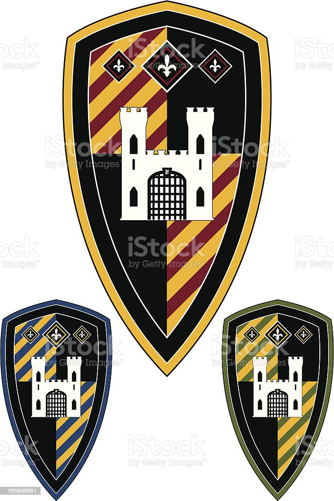 Medieval Castle Striped Shield royalty-free stock vector art