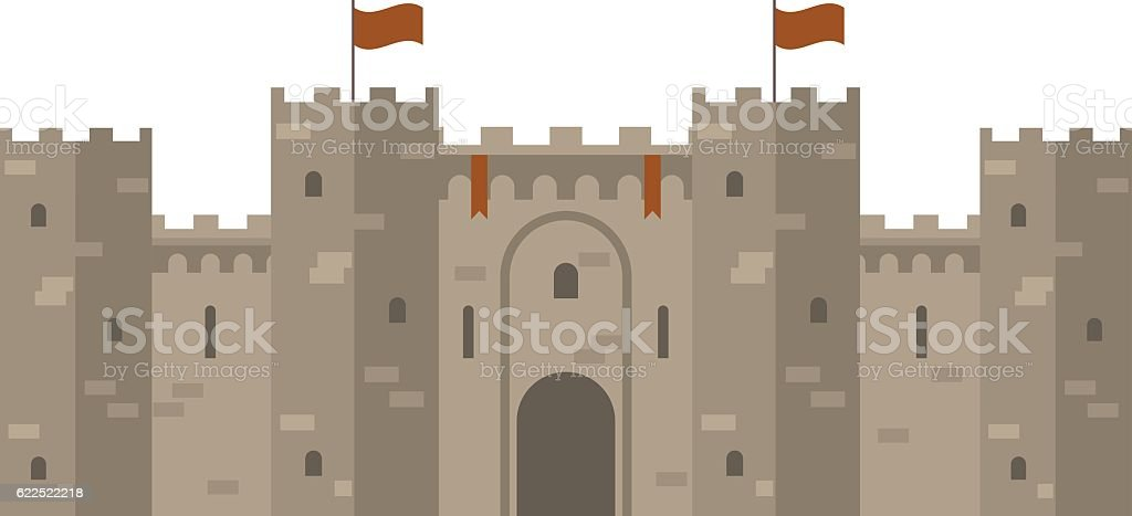 Medieval castle with fortified wall and towers vector art illustration