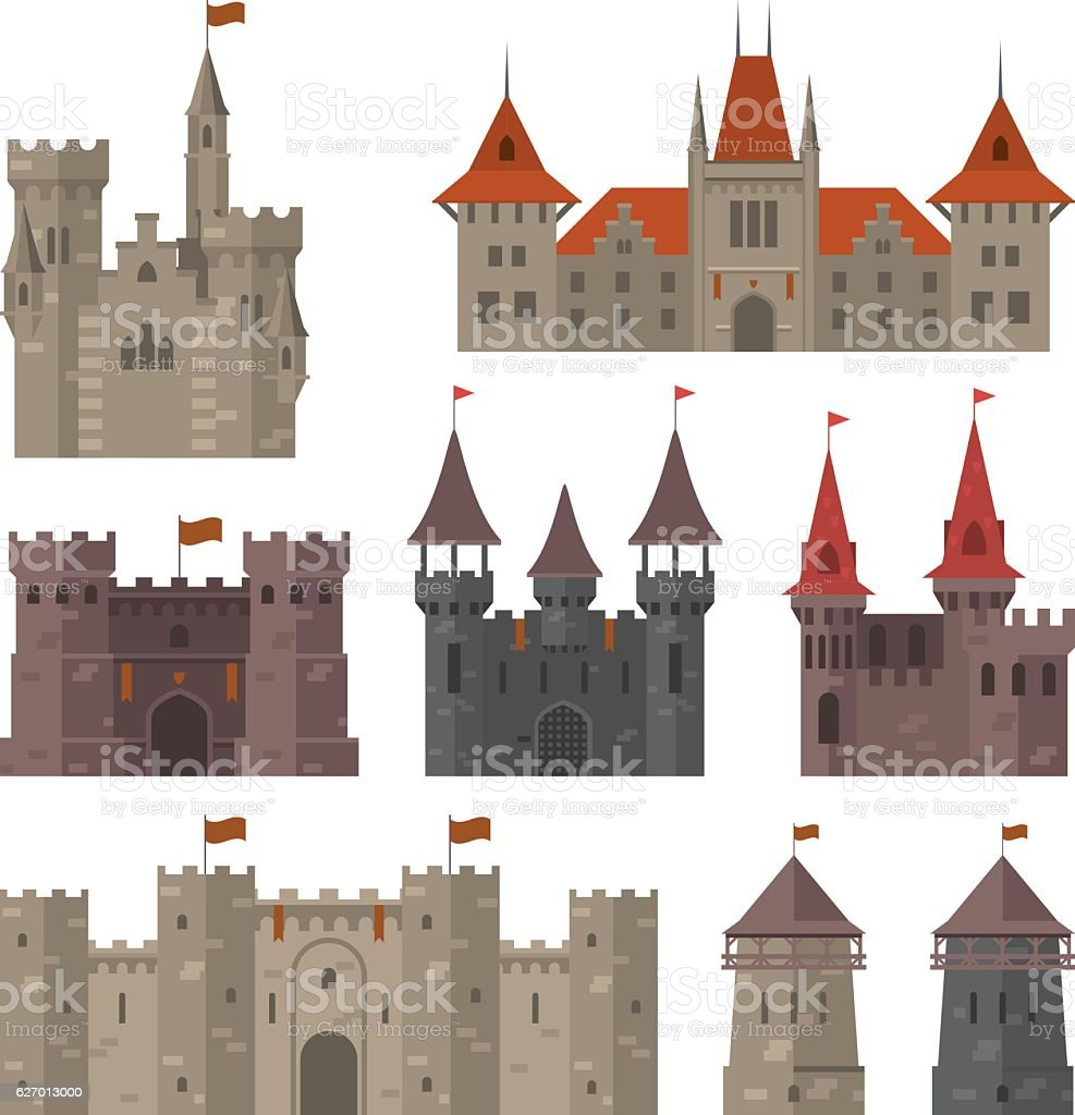 Medieval castles, fortresses and strongholds with fortified wall and towers vector art illustration