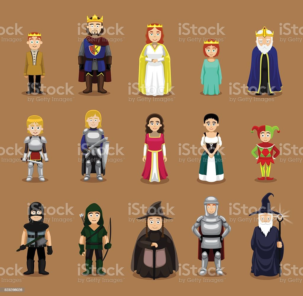 Medieval Characters Set Cartoon Vector Illustration vector art illustration