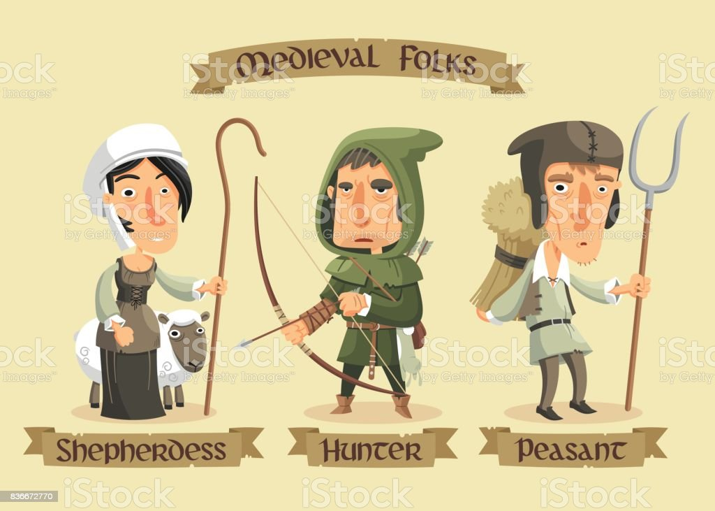 Medieval characters set vector art illustration
