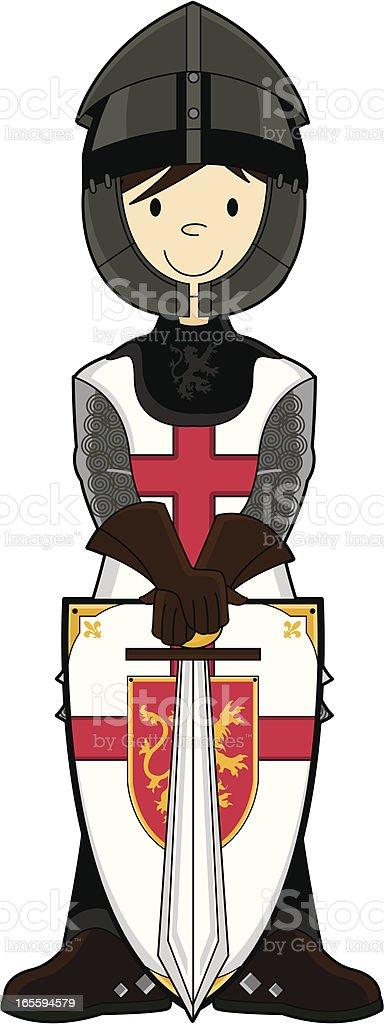 Medieval crusader knight wearing a helmet royalty-free stock vector art