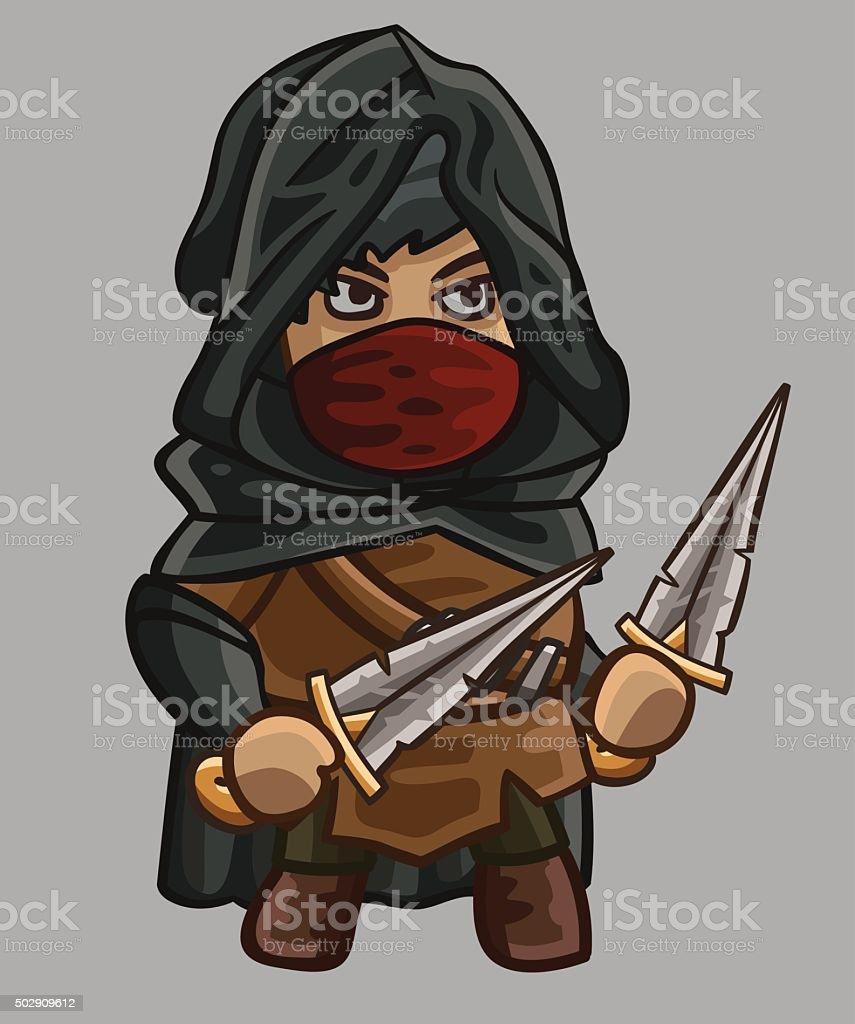 Средневековый игра assassin персонажей векторная иллюстрация
