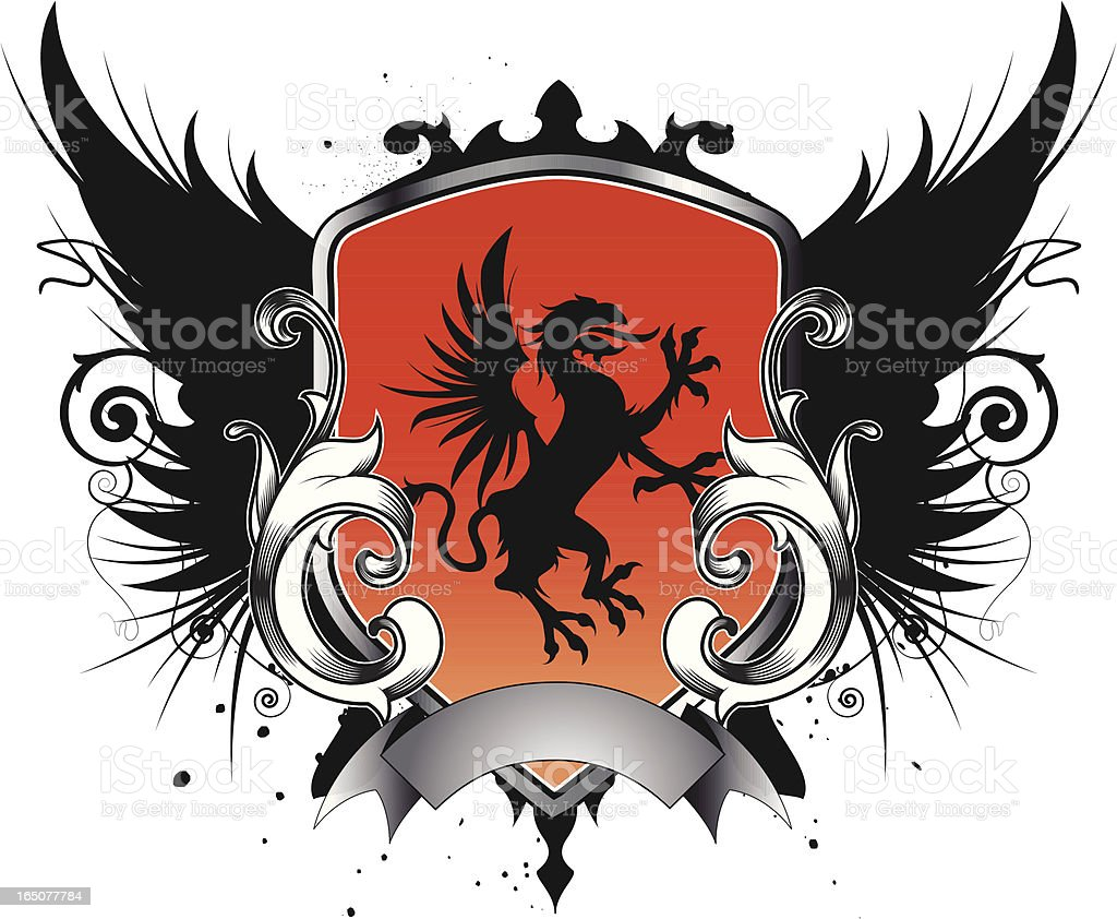 medieval griffin emblem vector art illustration