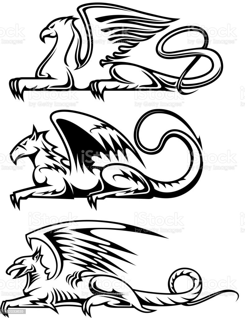 Medieval gryphons set royalty-free stock vector art