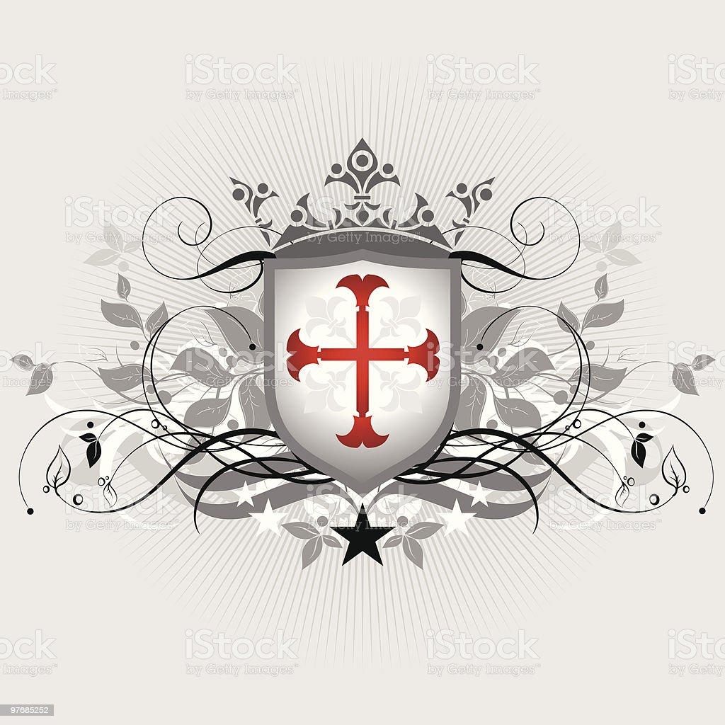 Medieval heraldic shield royalty-free stock vector art