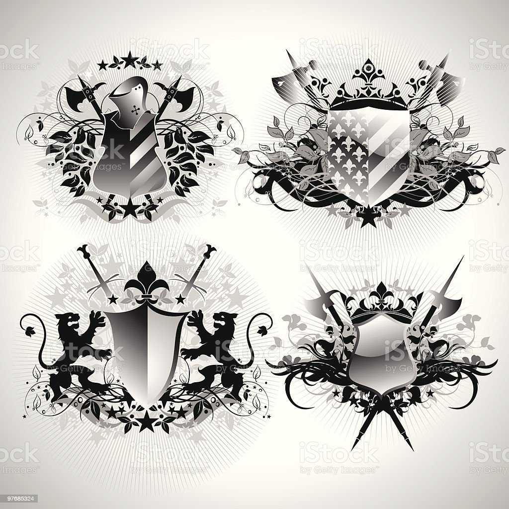 Medieval heraldic shields royalty-free stock vector art