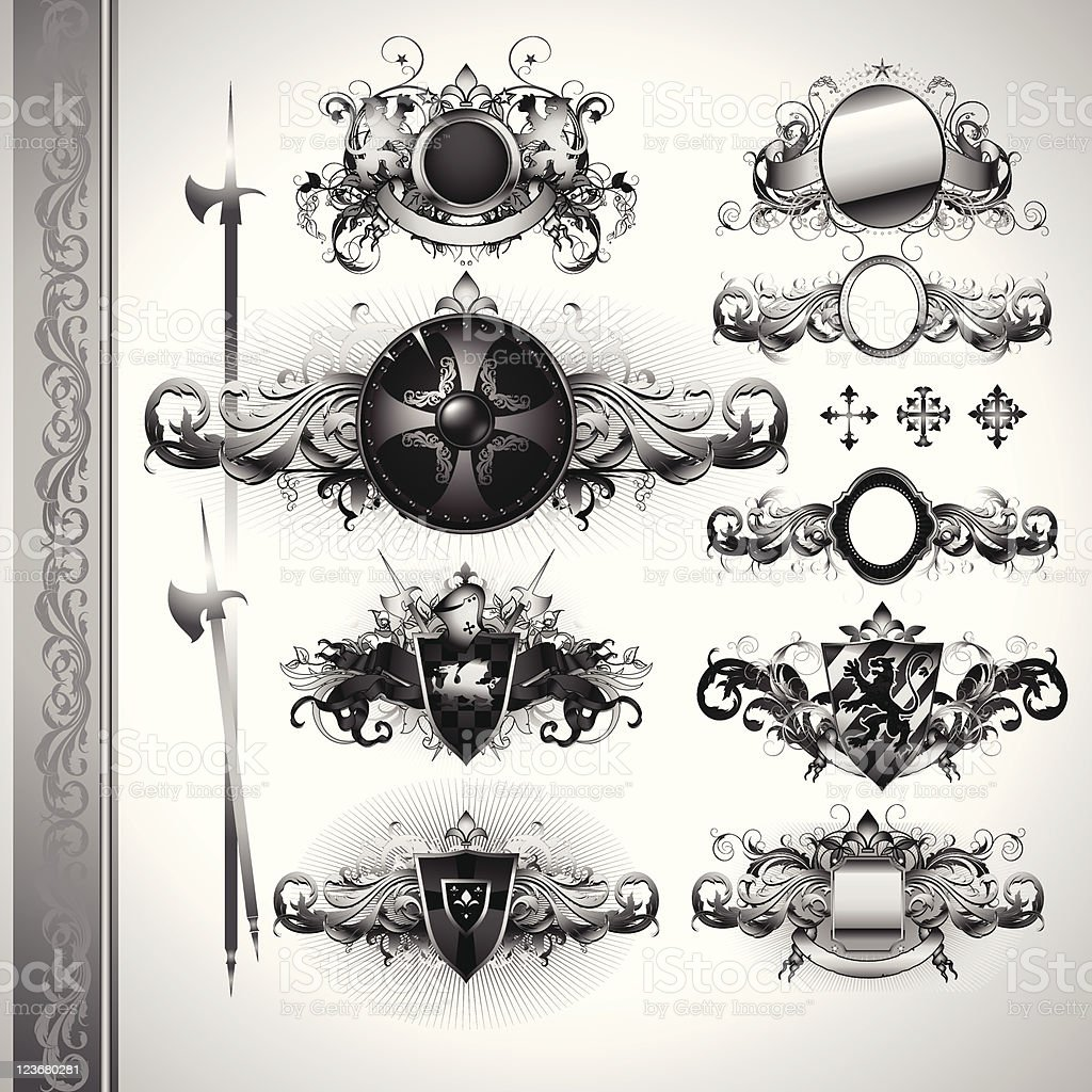 medieval heraldry shields royalty-free stock vector art