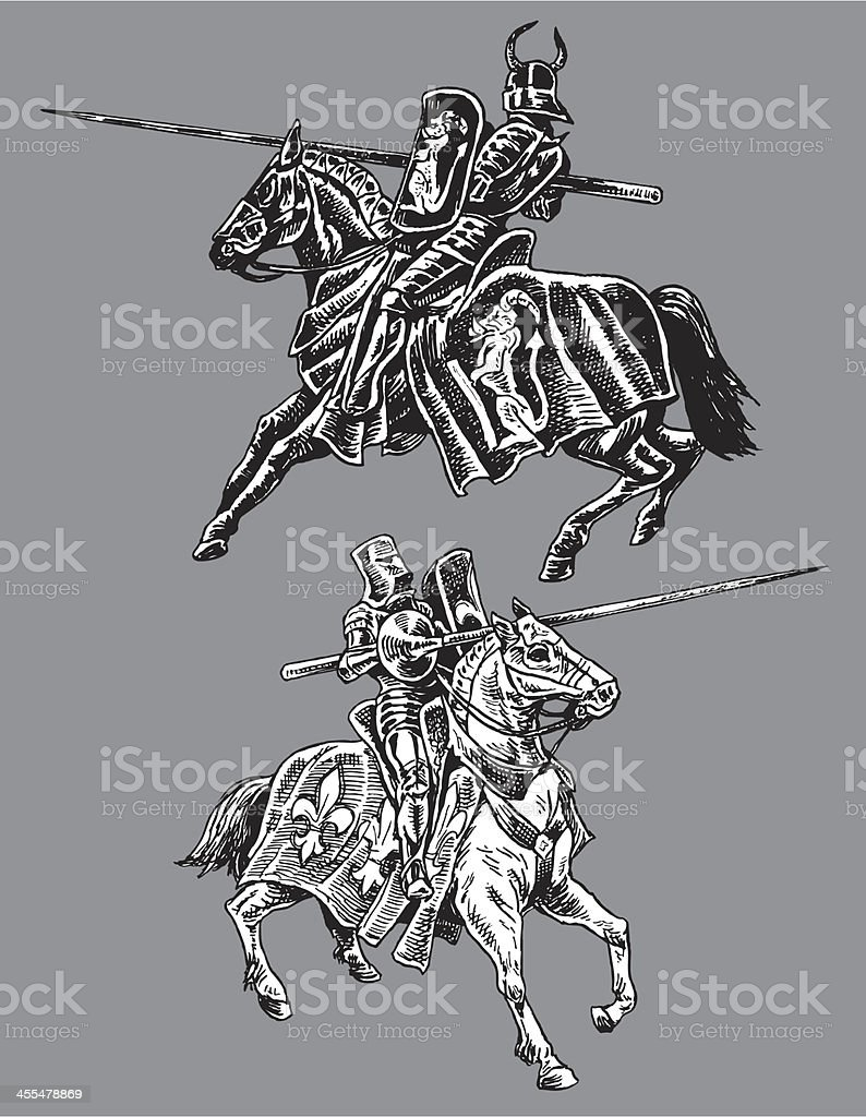 Medieval Jousters - Black and White Knight vector art illustration