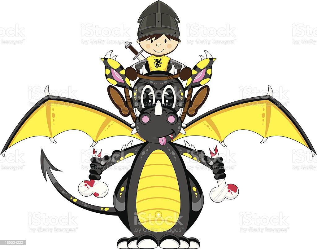 Medieval Knight and Dragon vector art illustration
