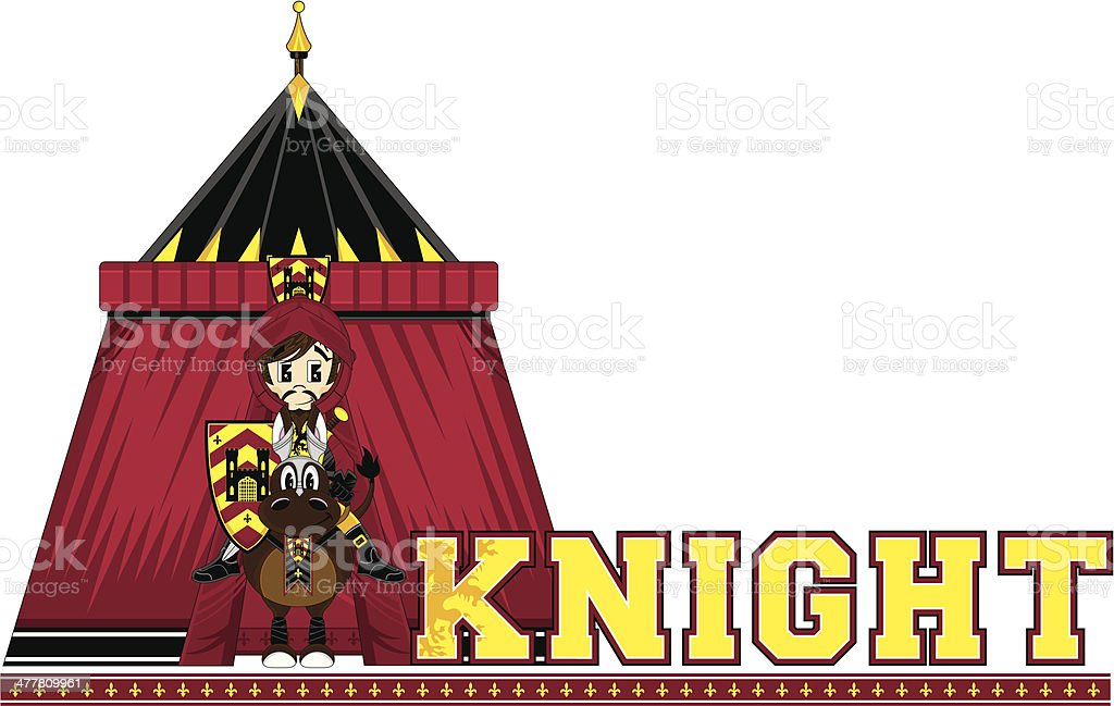 Medieval Knight Learning Letter K royalty-free stock vector art