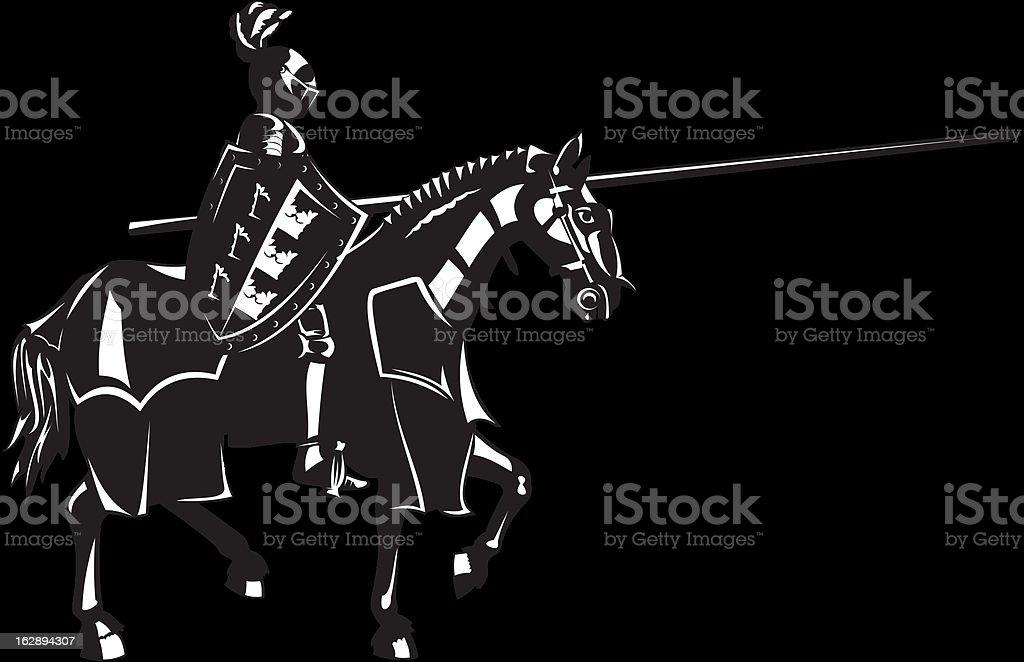 medieval knight on horse vector art illustration