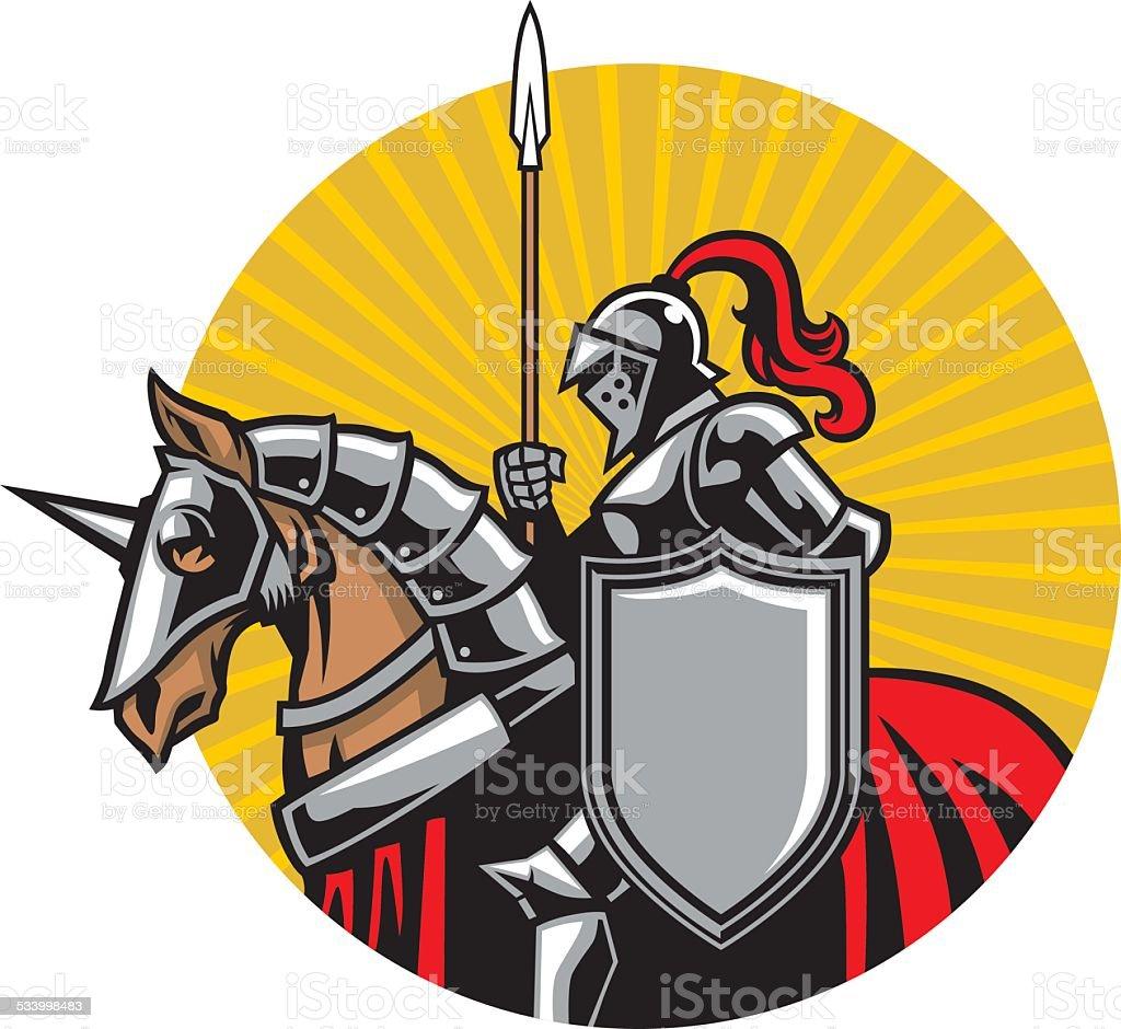 medieval knight ride a horse vector art illustration
