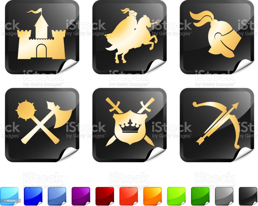 Medieval Knight royalty free vector icon set stickers in gold royalty-free stock vector art