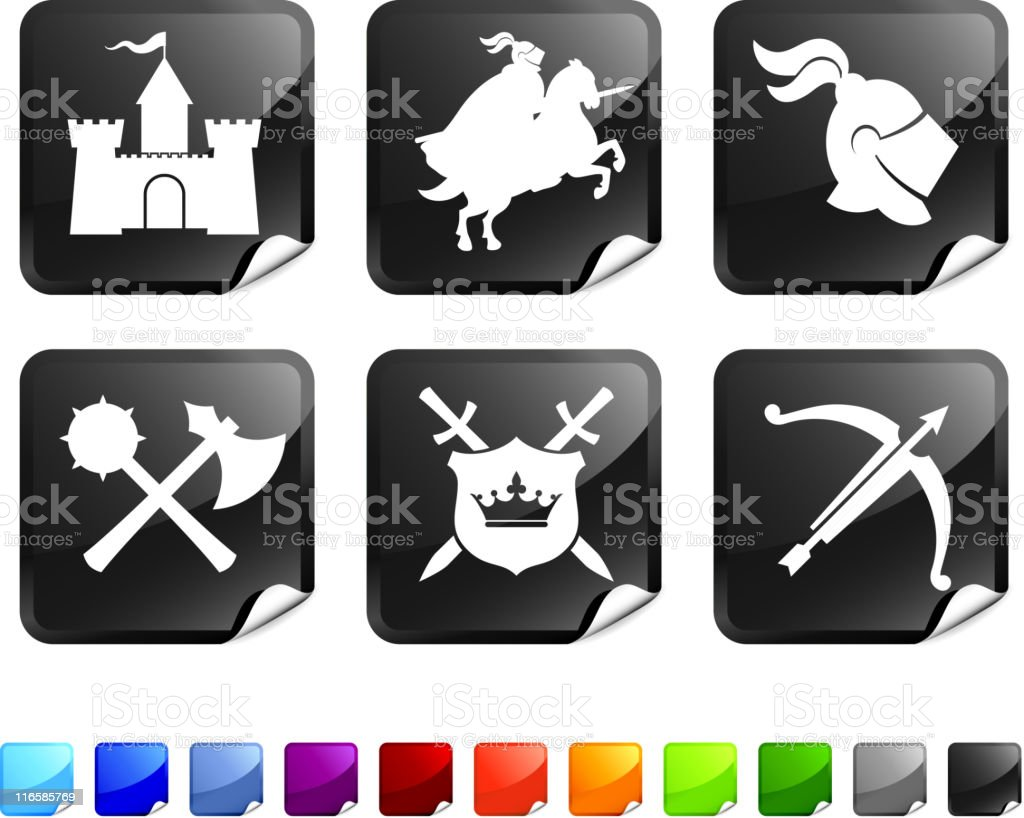 Medieval Knight royalty free vector icon set stickers royalty-free stock vector art