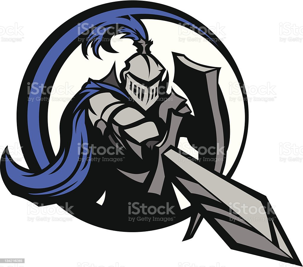 Medieval Knight with Sword and Shield Vector Mascot vector art illustration