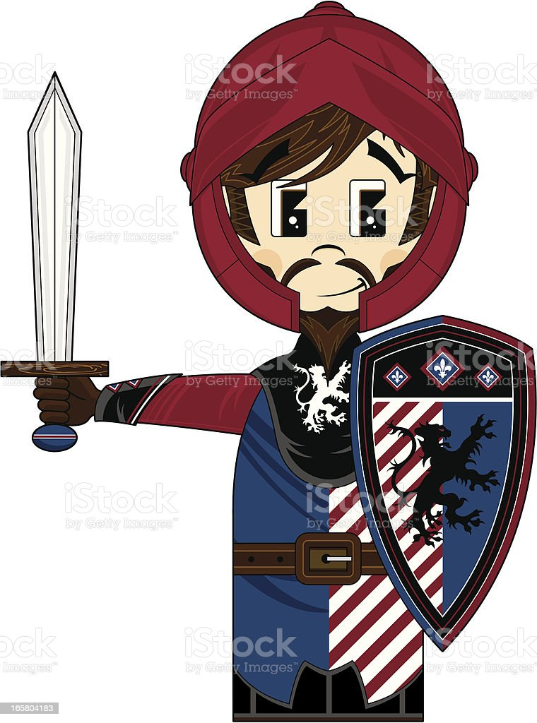 Medieval Knight with Sword & Shield royalty-free stock vector art