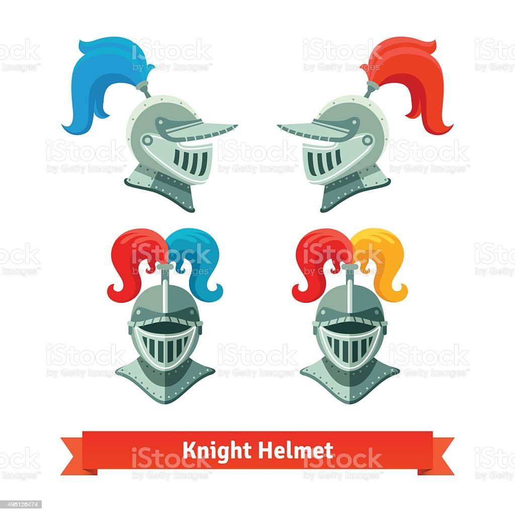 Medieval knights helmet with plume. Font and side vector art illustration