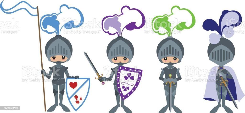 Medieval knights in armor with swords, shields and a flag on a pole vector art illustration