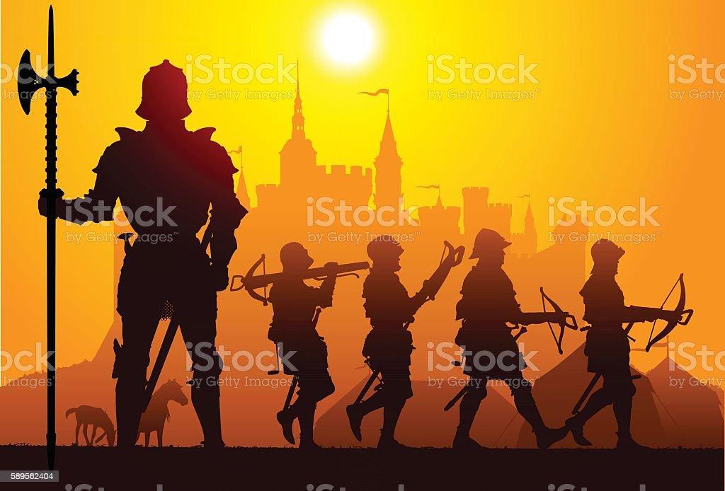 Medieval knights vector art illustration