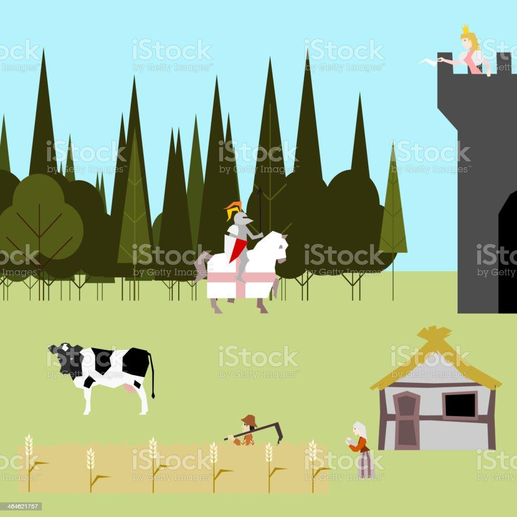 medieval life flat style peasants knight princess vector vector art illustration