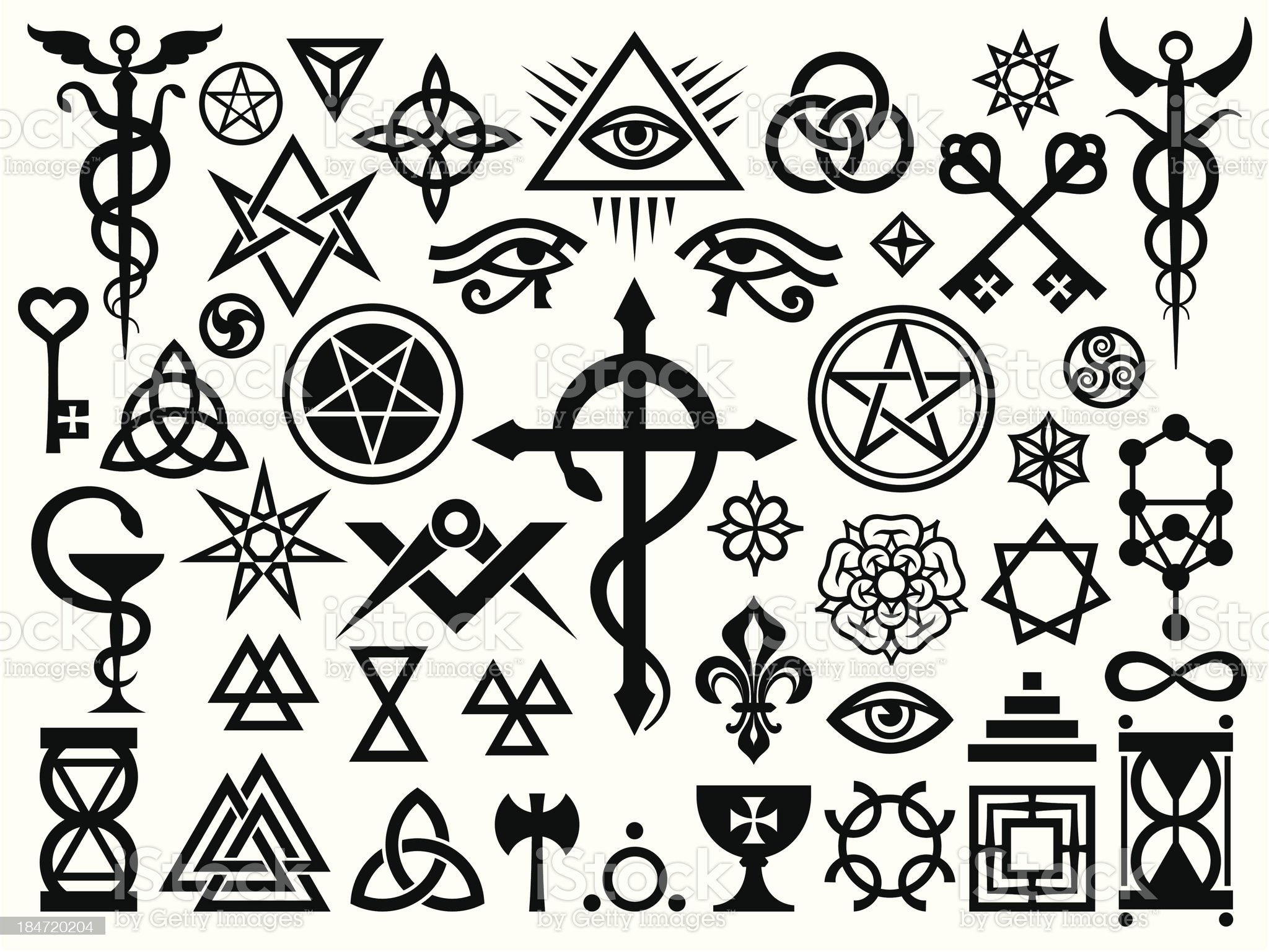 Medieval Occult Signs And Magic Stamps royalty-free stock vector art