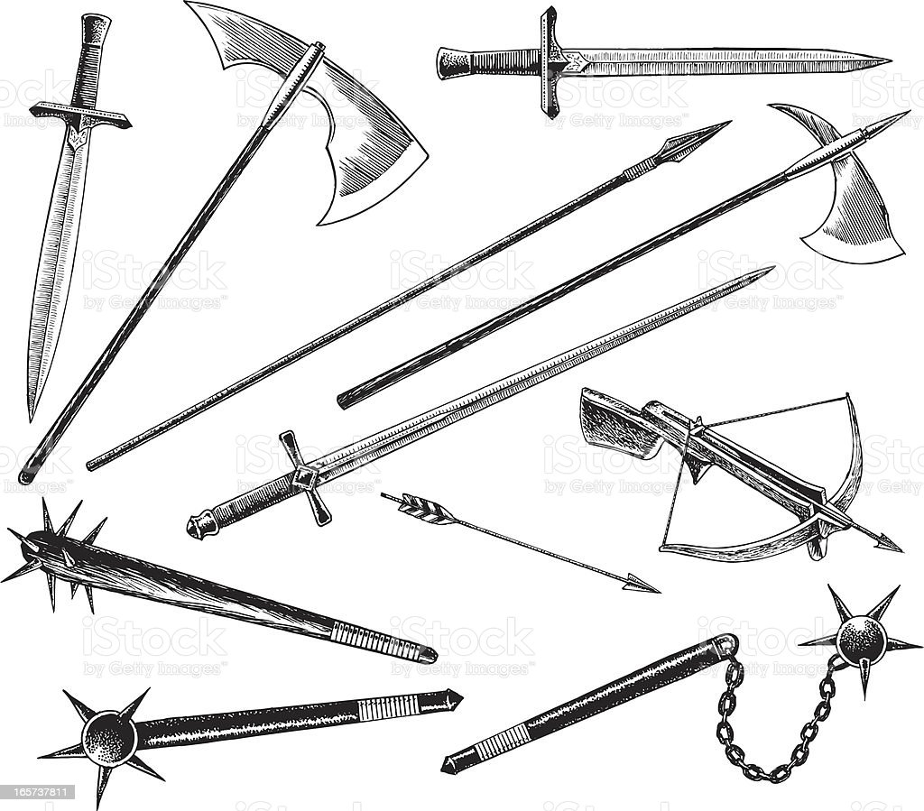 Medieval or Renaissance Weapons, Sword and Hatchet vector art illustration