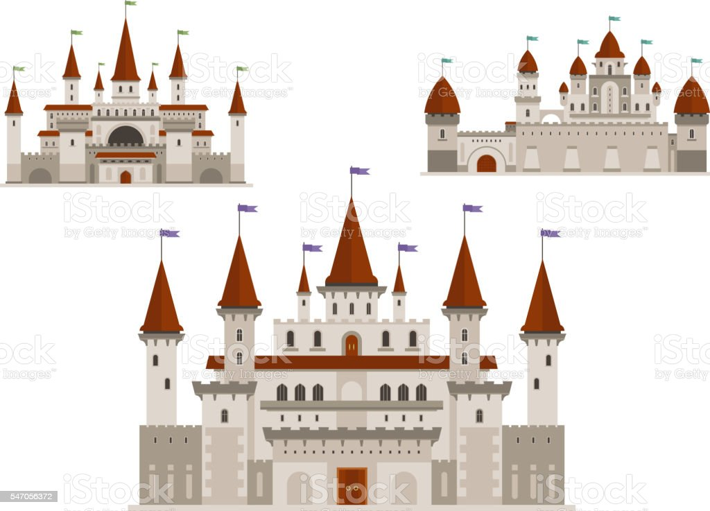Medieval palaces or castles with towers and spires vector art illustration