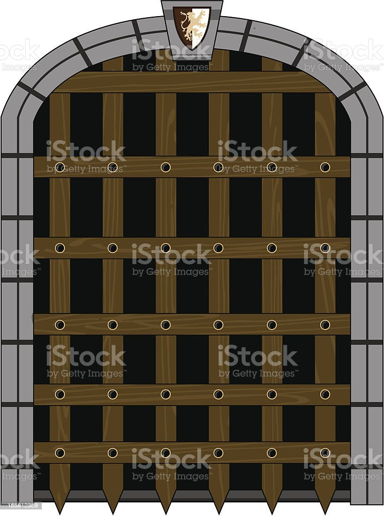 Medieval Portcullis Style Gate vector art illustration