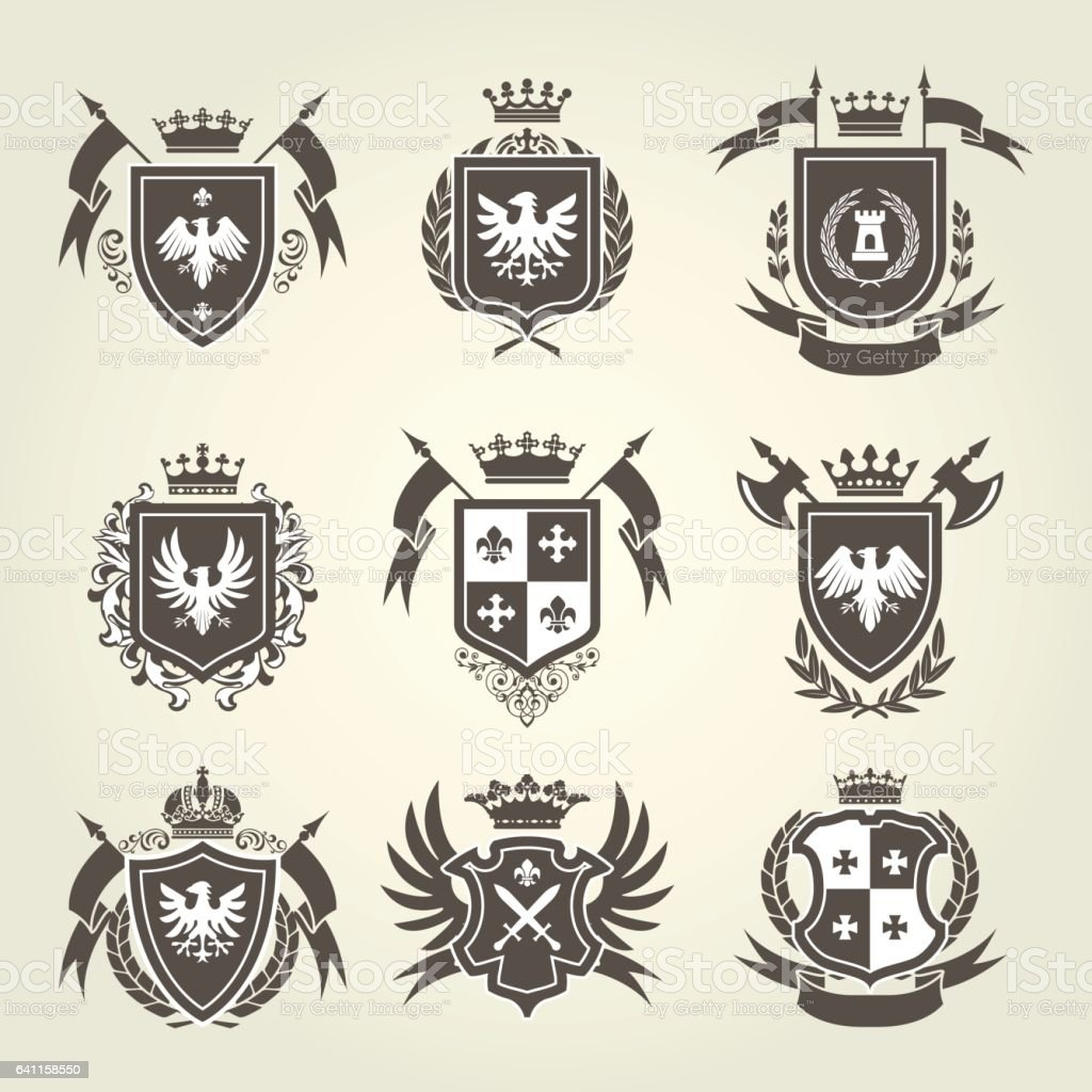 Medieval royal coat of arms and knight emblems - heraldic shield crest vector art illustration
