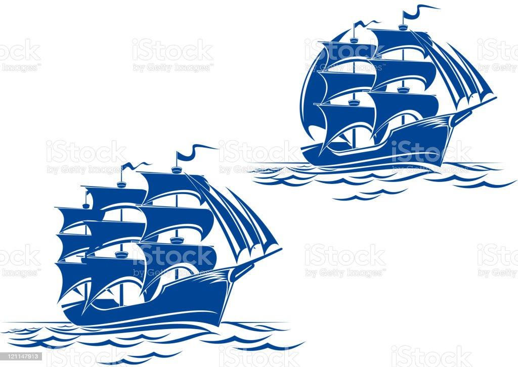 Medieval sail ships vector art illustration