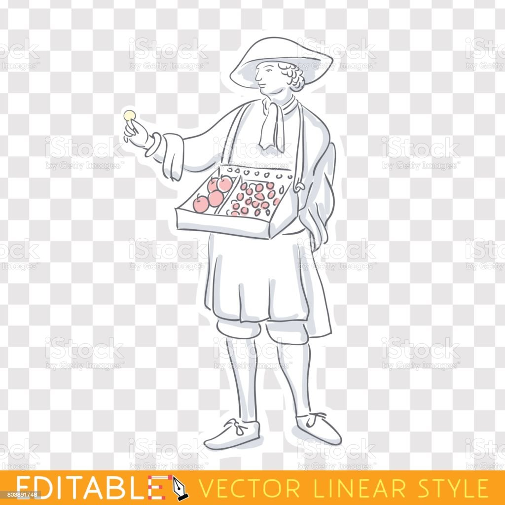 Medieval salesman, merchant marketer. Middle social class in medieval Europe. Editable line sketch. Stock vector illustration. vector art illustration