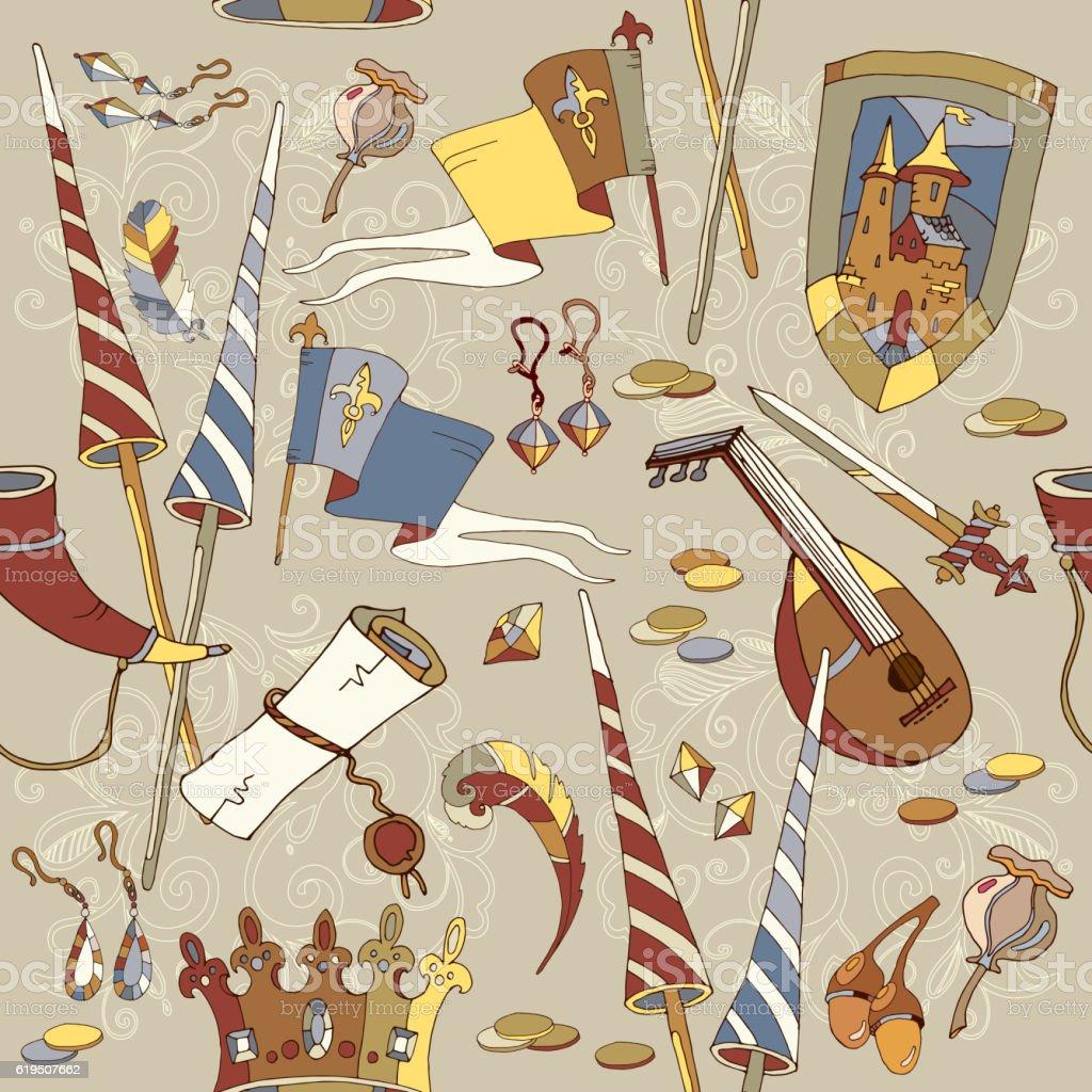 Medieval seamless pattern, castle, sword, crown vector art illustration