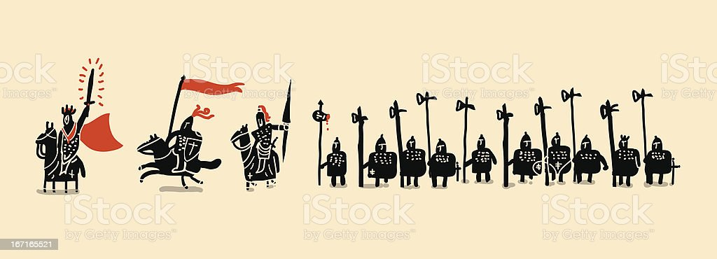 medieval soldiers set royalty-free stock vector art
