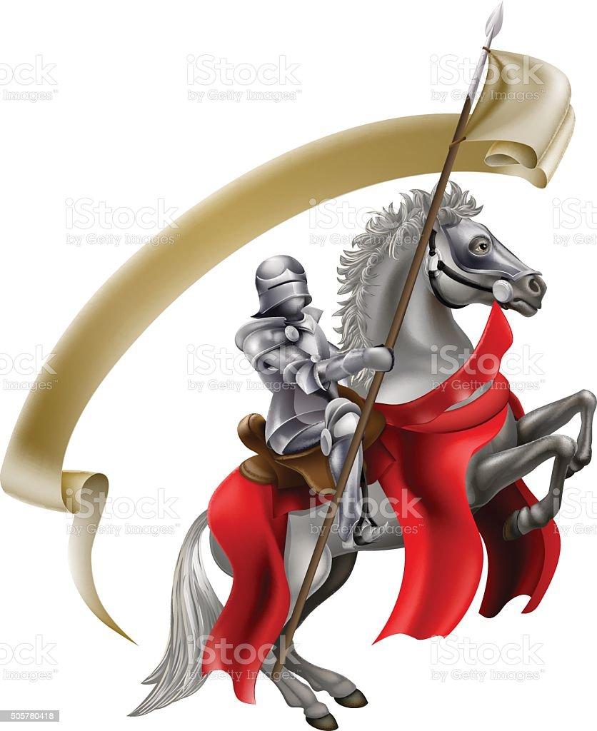 Medieval Spear Knight on Horse vector art illustration