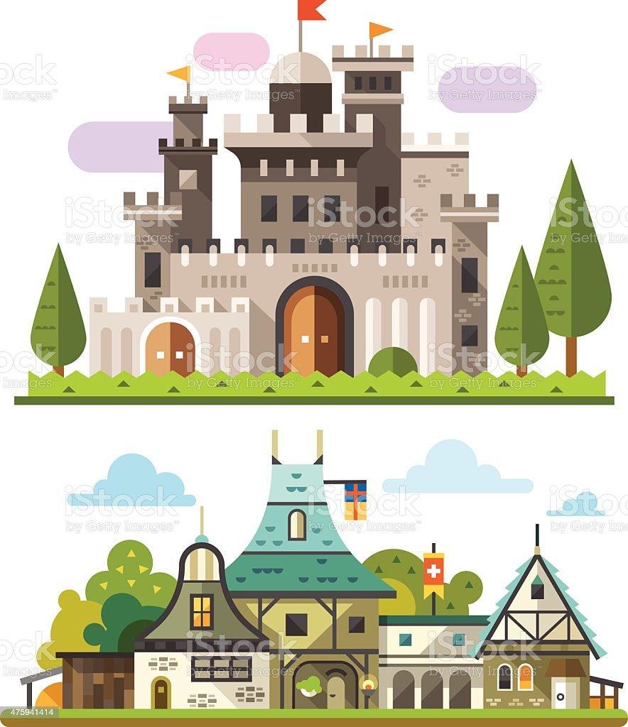 Medieval stone fortress vector art illustration