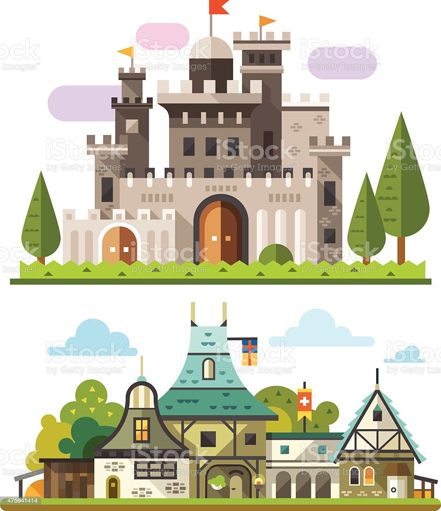 Medieval stone fortress vector art illustration
