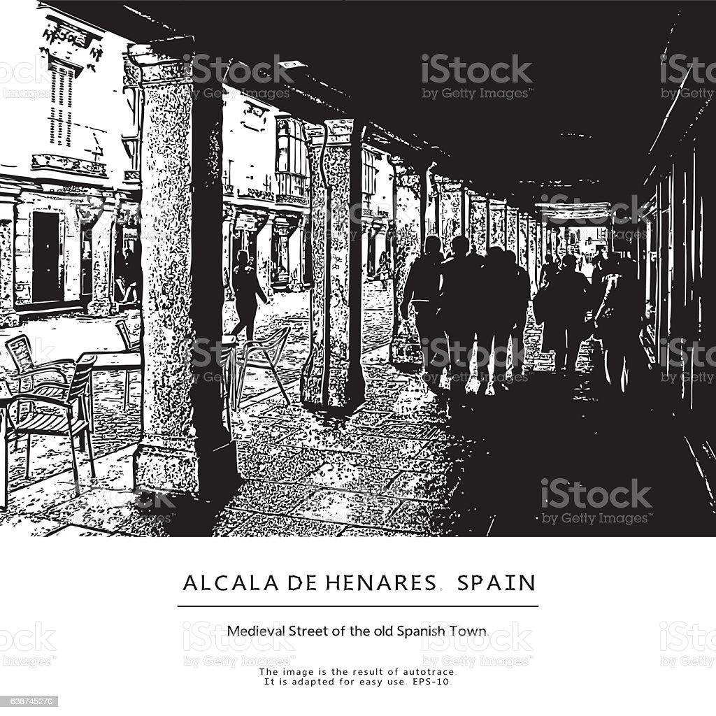 Medieval Street of the old town in Spain. Vector illustration. vector art illustration