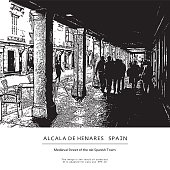 Medieval Street of the old town in Spain. Vector illustration.