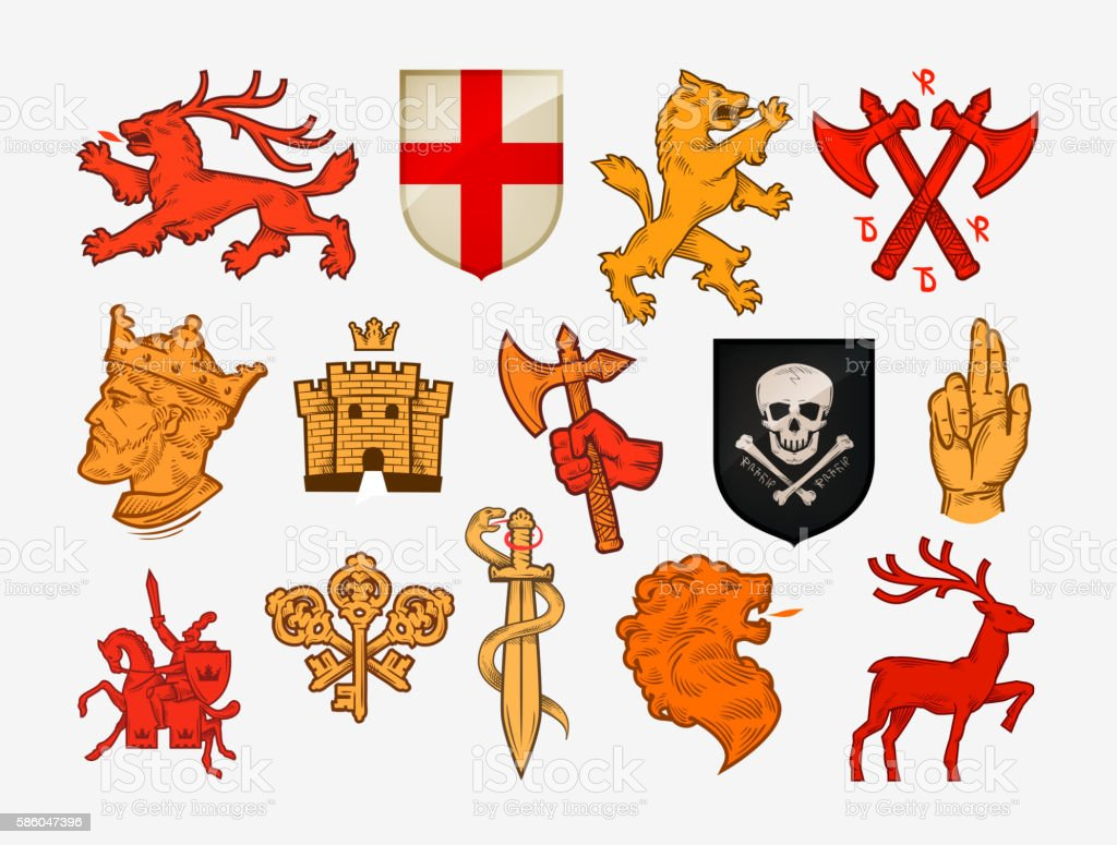 Medieval symbols or icons. Collection vector logos vector art illustration