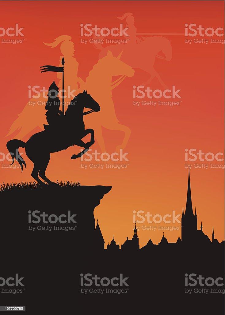 medieval town vector art illustration