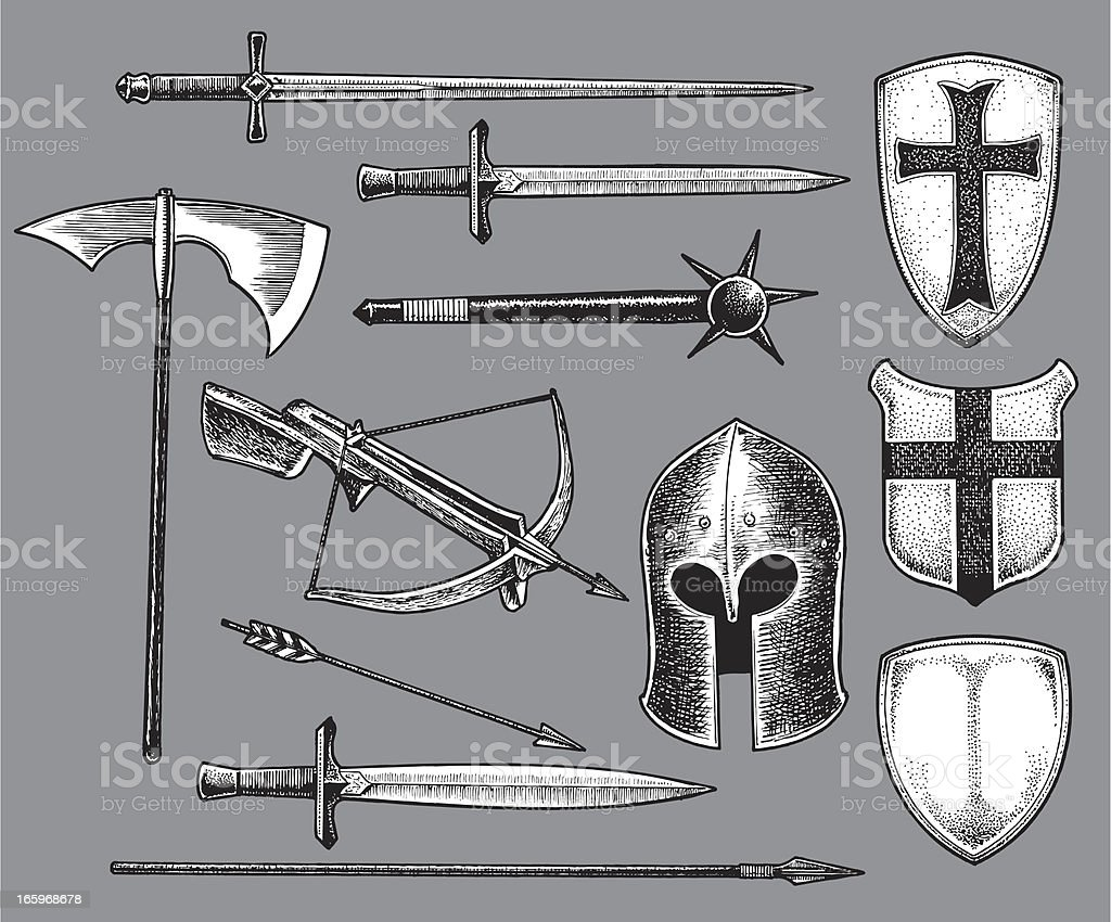 Medieval Weapons and Shields royalty-free stock vector art