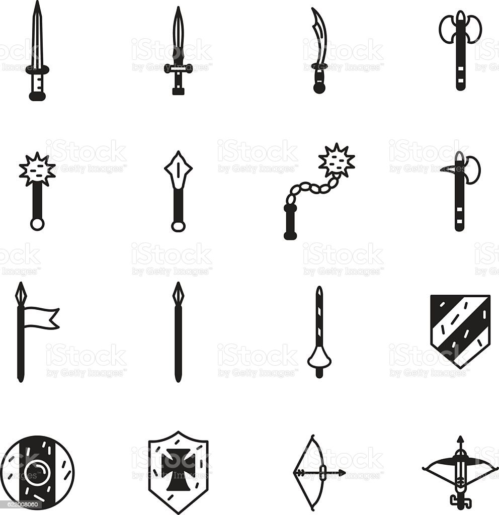 Medieval weapons icon set. Vector vector art illustration