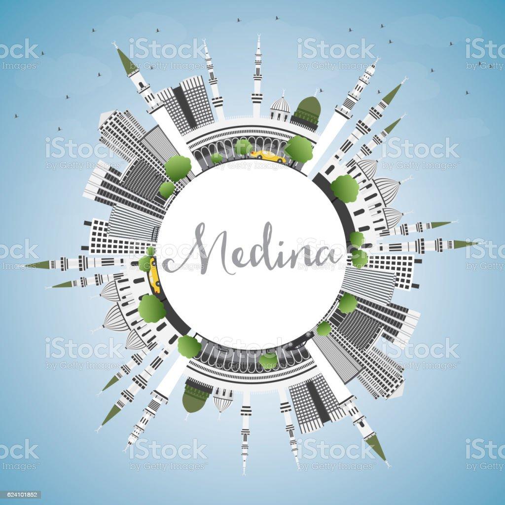 Medina Skyline with Gray Buildings, Blue Sky and Copy Space. vector art illustration