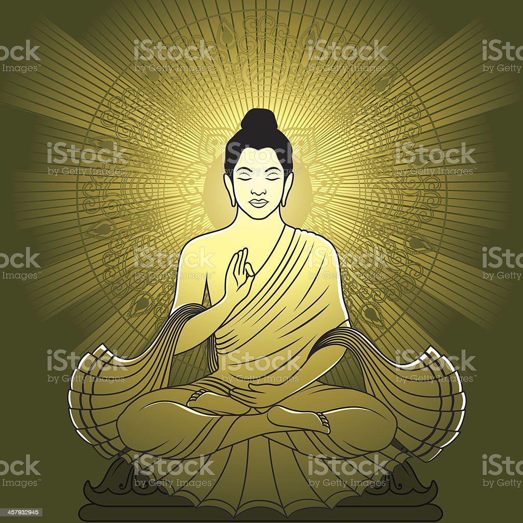 Meditating Buddha royalty-free stock vector art