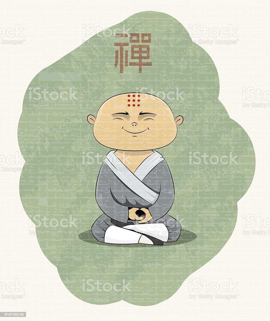 meditating Buddhist monk vector art illustration