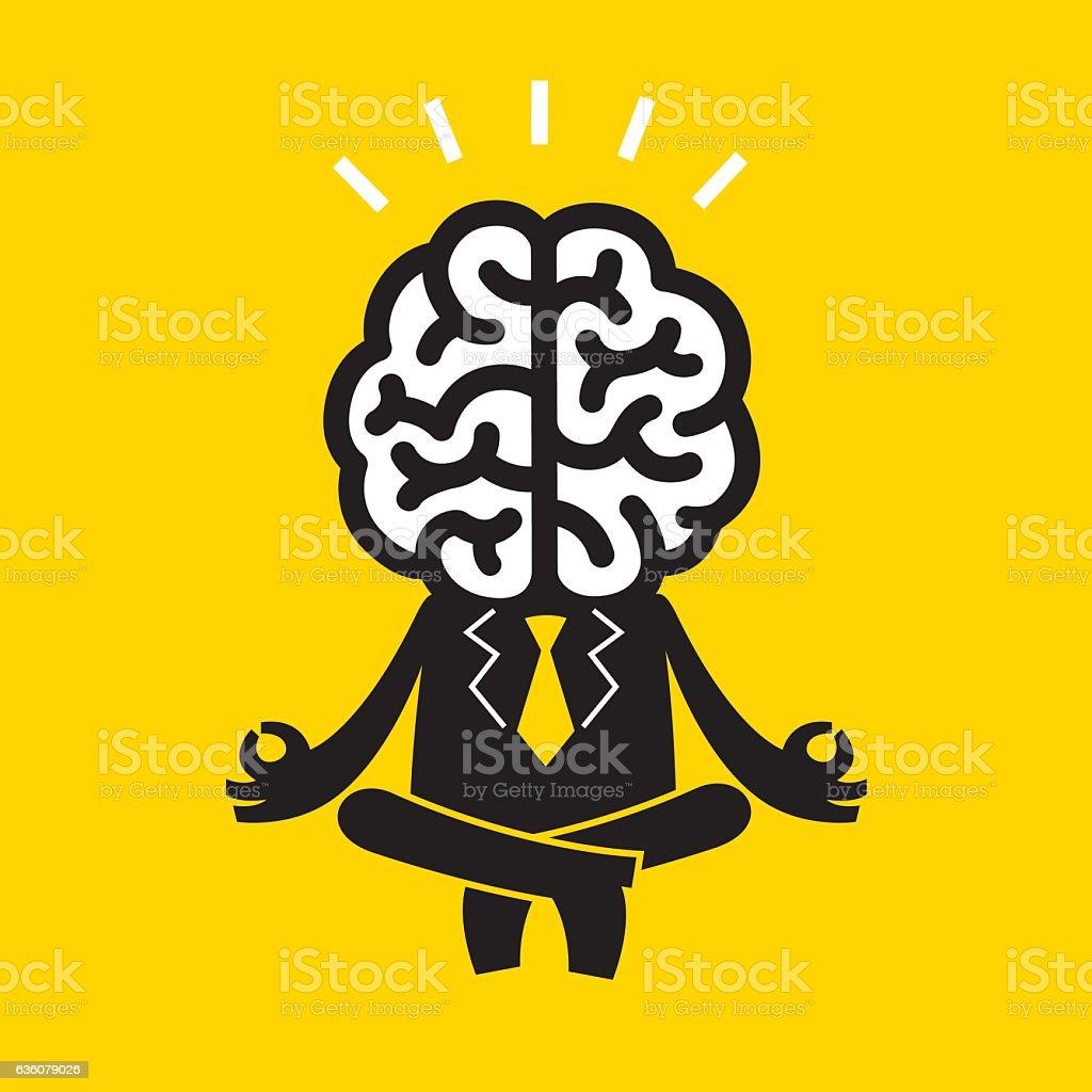Meditating Businessman (Mr Brain)   Yellow Business Concept vector art illustration